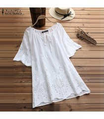 zanzea mangas cortas ojo de la cerradura largo tapas de la camisa de la manga acampanada ganchillo de la blusa del tamaño extra grande -blanco