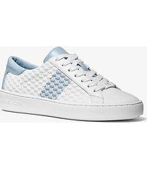 mk sneaker colby in pelle goffrata con logo e righe - blu pallido (blu) - michael kors