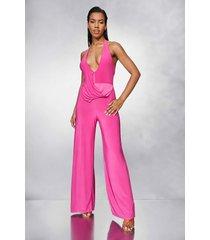 strakke wide leg jumpsuit met halter neck, pink