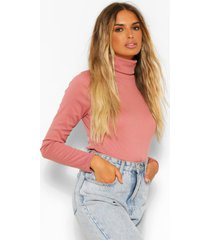 geribbelde top met lange mouwen en turtle neck, blush
