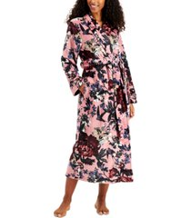 charter club plush printed long cozy wrap robe, created for macy's