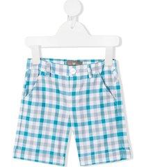 little bear plaid-check print shorts - blue