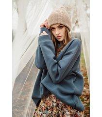 bawełniana bluza oversize, vintage blue