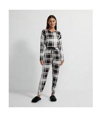 pijama longo em moletinho com estampa xadrez | lov | preto | gg