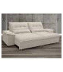 sofa bergamo 2,50m assento retratil e reclinavel velosuede areia - netsofas
