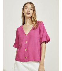 blusa rosa portsaid lino button ney jersey