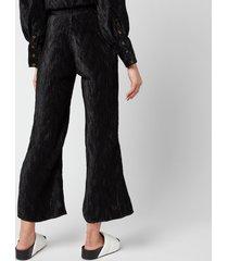 ganni women's pleated satin trousers - black - eu 42/ uk 14