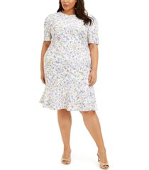 calvin klein plus size floral-print ruffle-hem dress