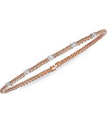14k rose gold & diamond station rope bangle bracelet