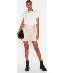 womens faux leather work high-waisted utility shorts - ecru