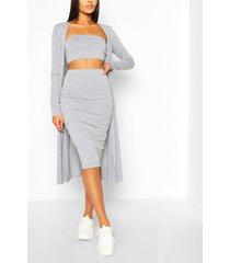 3-delige duster jas, bandeau en rok set, grijs gemêleerd