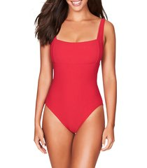 women's sea level square neck one-piece swimsuit, size 12 - red
