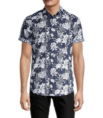 robert graham men's classic-fit floral-print shirt - navy - size xxl