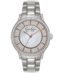 jessica simpson women's crystal encrusted silver tone bracelet watch 36mm