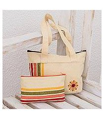 cotton shoulder and cosmetic bag, 'floral summer' (pair) (guatemala)