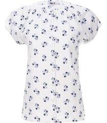blusa flores azul y gris color blanco, talla 12