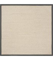 safavieh natural fiber natural and dark gray 6' x 6' sisal weave square rug