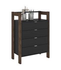 armário gaveteiro multiuso tecno mobili az-1012 4 gavetas preto/nogal