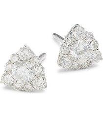 14k white gold & 0.79 tcw diamond triangle stud earrings