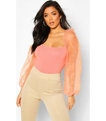 organza puff sleeve knitted top, salmon
