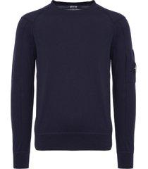 cp company black iris sea island cotton lens crew neck sweater mkn012a