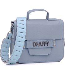 bolsa dhaffy bolsas alça trabalhada azul
