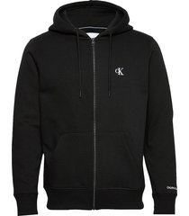 ck essential reg zip through hoodie svart calvin klein jeans