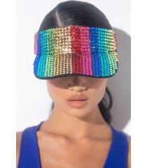 akira la dee da rainbow rhinestone visor