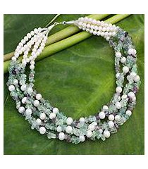 cultured pearl and fluorite beaded necklace, 'snow mint' (thailand)