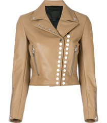 alexander wang studded moto jacket - neutrals