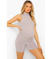 zwangerschap geribbeld hemd met hoge hals, grey