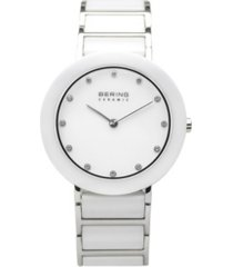bering ladies ceramic bezel and smooth link watch
