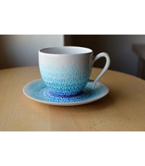 filiżanka ręcznie malowana ceramiczna błękit