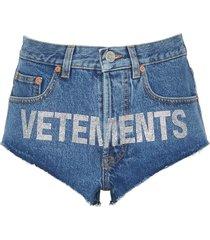 rhinestone logo high cut denim hot pants