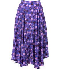 french riviera skirt, purple retro blossom