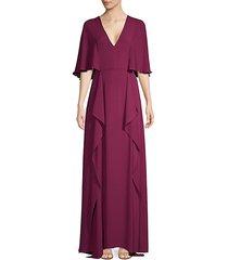 v-neck flounce maxi dress