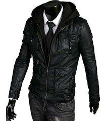 handmade new men stylish hooded with multi pockets black leather jacket