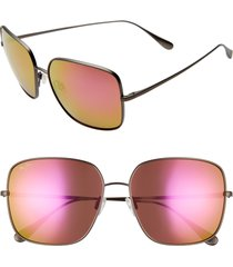 women's maui jim triton 61mm polarizedplus2 mirrored square sunglasses -