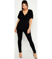 maternity ruffle wrap top, black