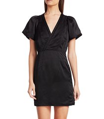 surplice strech-linen sheath dress