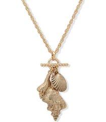 "anne klein gold-tone seashell multi-charm 30"" long pendant necklace"