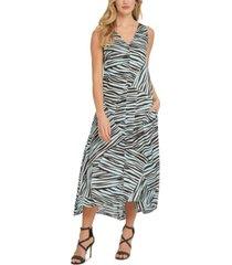 dkny animal-print sleeveless v-neck pocket maxi dress