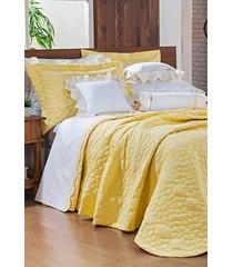 cobre leito bernadete casa queen bordado 100% algodão percal 200 fios - darla 3 peças amarelo