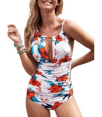 flower cutout backless tummy control one-piece swimwear