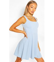 belted strappy skater dress, light blue