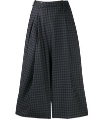 maison margiela checked wrap style trousers - blue