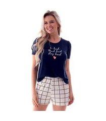 pijama feminino curto blusa manga princesa