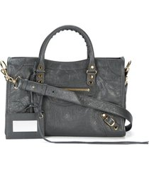 balenciaga bolsa tiracolo classic city - cinza
