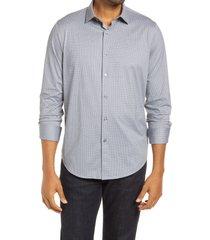men's bugatchi ooohcotton tech microprint knit button-up shirt, size large - grey