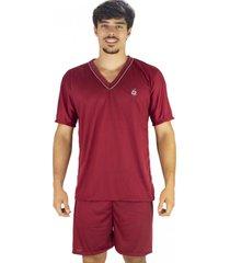 pijama mvb modas adulto curto verão vinho
